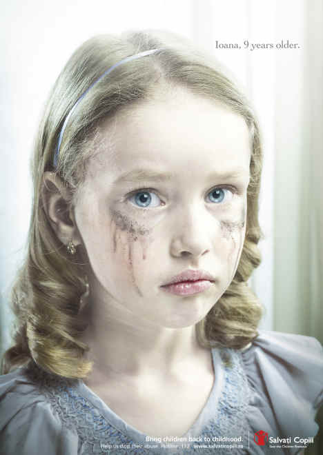 Ioanna in Save the Children Romania print ad