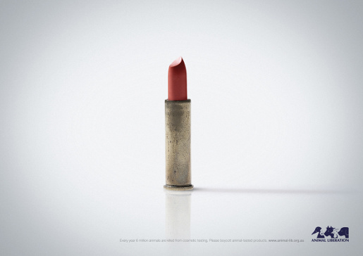 Lipstick in bullet case in Animal Liberation print ad