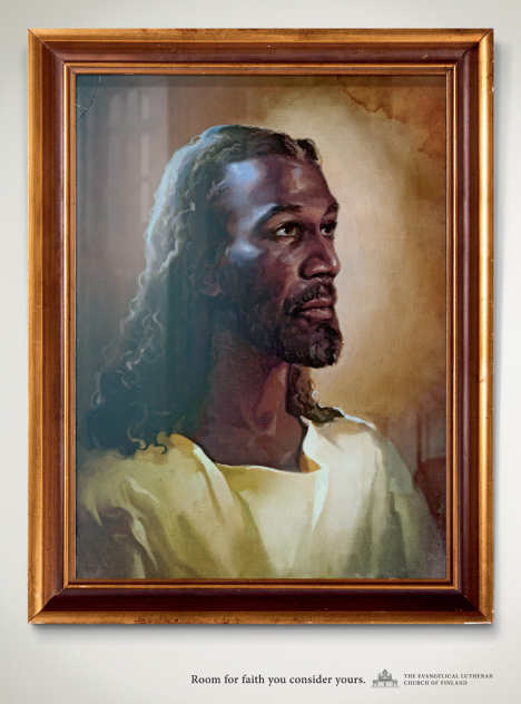 Black Jesus in Evangelical Lutheran Church of Finland print advertisement