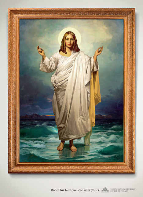 Female Jesus in Evangelical Lutheran Church of Finland print advertisement