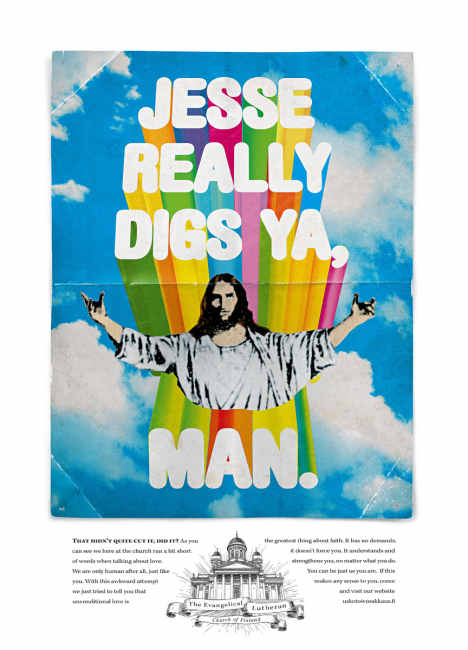 Out of date poster of reggae Jesus in Evangelical Lutheran Church of Finland print advertisement