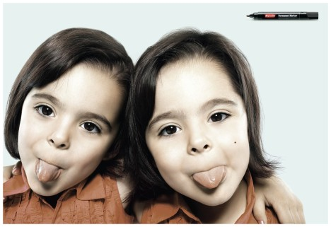 Twins in Reynolds Permanent Marker ad
