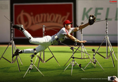 Baseball player in Canon Ixus print advertisement