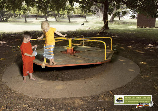 Duct tape applied in Energizer Lithium batteries print ad