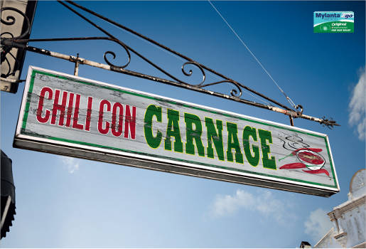 Chili Con Carnage sign in Mylanta print advertisement