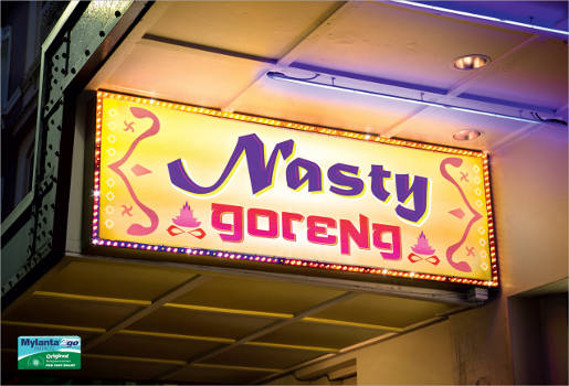 Nasty Goreng sign in Mylanta print advertisement