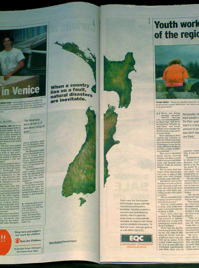 Earthquake faultline in NZ EQC press advertisement