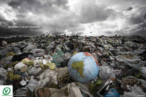 Globe in dump in Green Party recyle ad