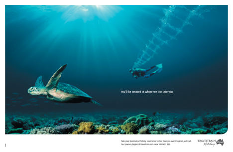 Turtle and diver in TravelTrain print ad