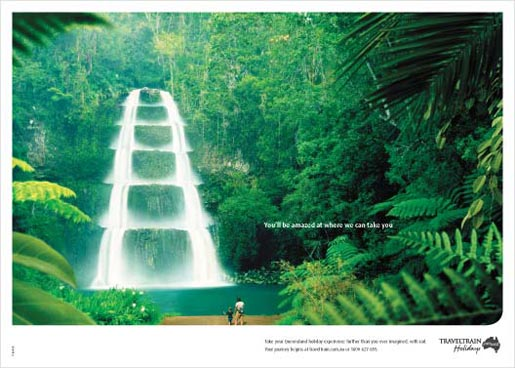 Waterfall in QR TravelTrain print ad