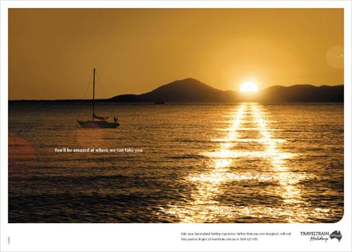 Yacht in QR TravelTrain print ad