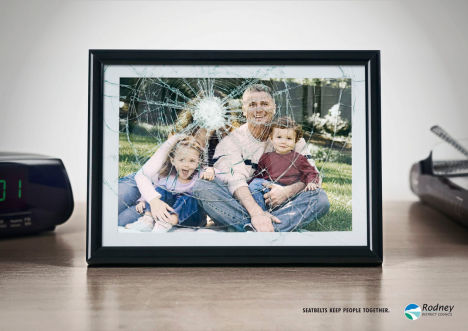 Family portrait in Rodney District Council seat belts ad