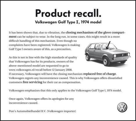 Volkswagen Golf Product Recall