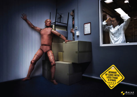 Crash test dummy hides from ANCAP testers