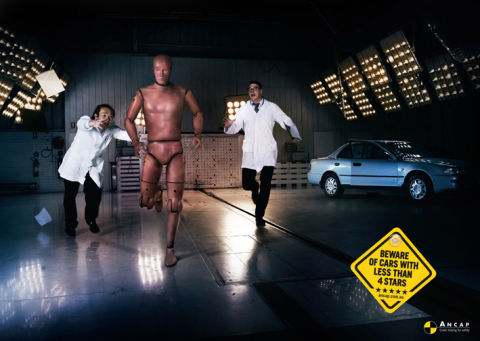 Crash test dummy runs away from ANCAP testers