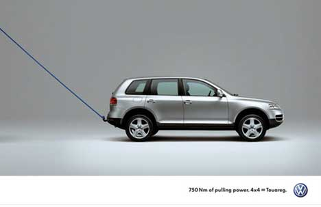 VW Touareg with tow rope