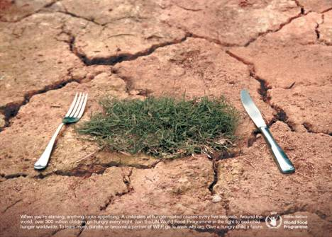 Fork and knife with grass in UN World Food Programme ad