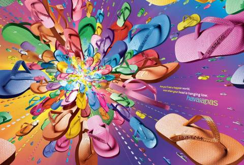 Purple Big Bang Havaianas print advertisement