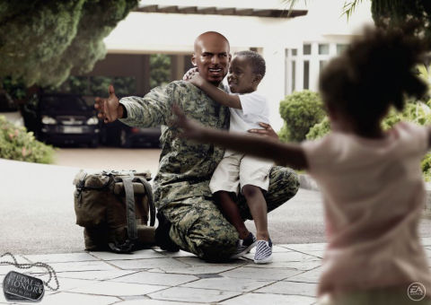 Soldier hugs family in Medal of Honor print ad