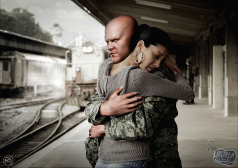 Soldier farewells woman in Medal of Honor print ad