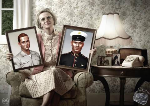 Woman with photos of sons in Medal of Honor print ad