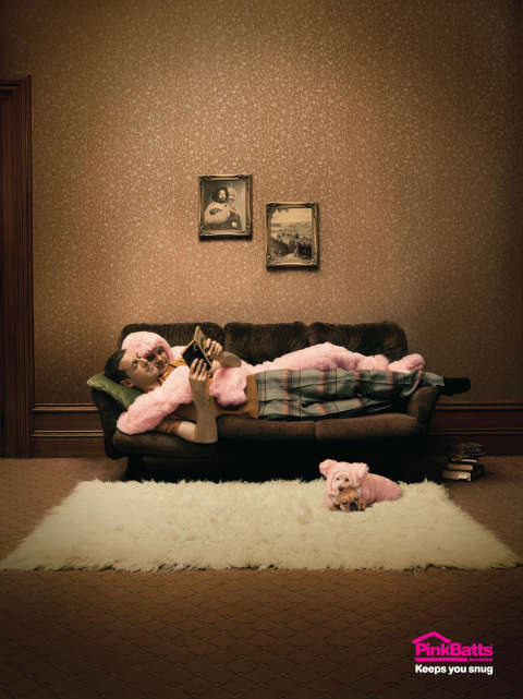 Pinkbatts Couch print ad