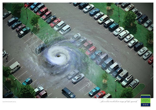Turbulence in carpark for Primrose Oil print ad