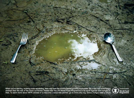 Spoon and fork with puddle in UN World Food Programme ad