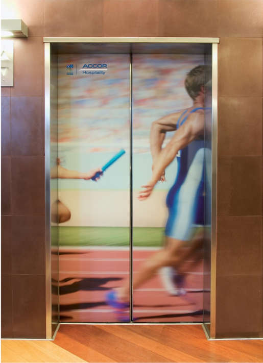 Relay racers in Accor hotel advertising campaign
