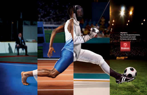 Athletes running in Bradesco print advertisement
