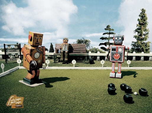 Duracell Robots playing Lawn Bowls