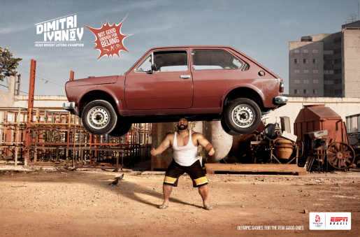 Dimitri Ivanov lifts car in ESPN Sport print advertisement