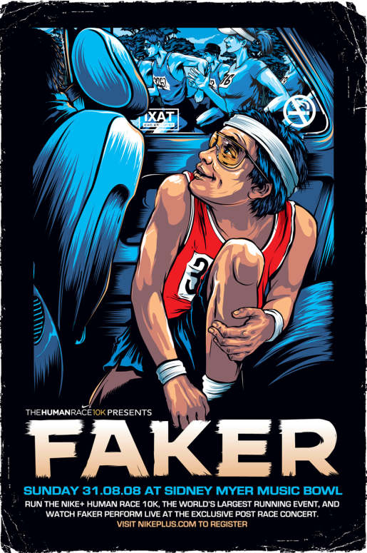 Fakers poster for Nike Human Race in Melbourne
