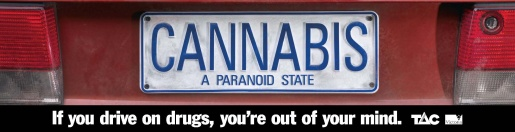 Cannabis license plate in TAC Cell TV ad