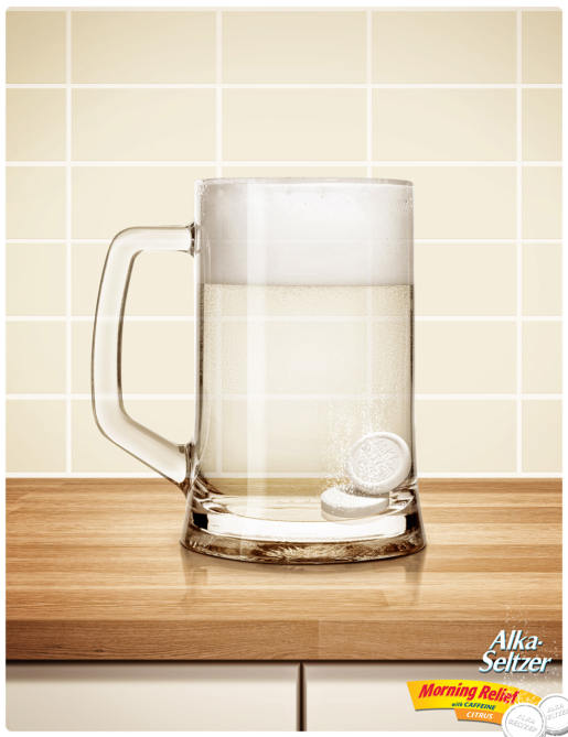 Alka-Seltzer in Glass Beer Mug