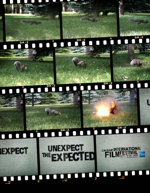 Squirrel meets its end in Calgary International Film Festival print advertisement