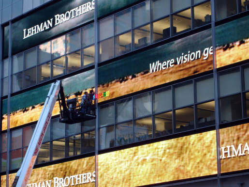 Lehman Brothers Display under repair