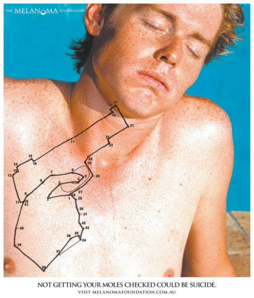 Melanoma Foundation print advertisement with Dot To Dot puzzle