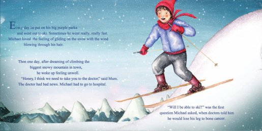Michael Milton skiing in Child Cancer book