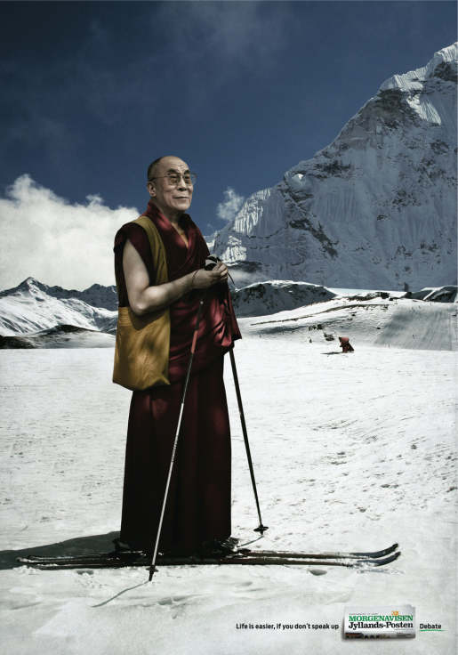 The Dalai Lama skiing in Jyllands Posten print advertisement