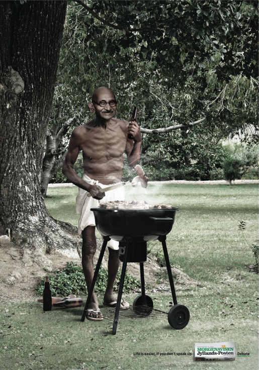 Gandhi with beer and barbecue in Jyllands Posten print advertisement