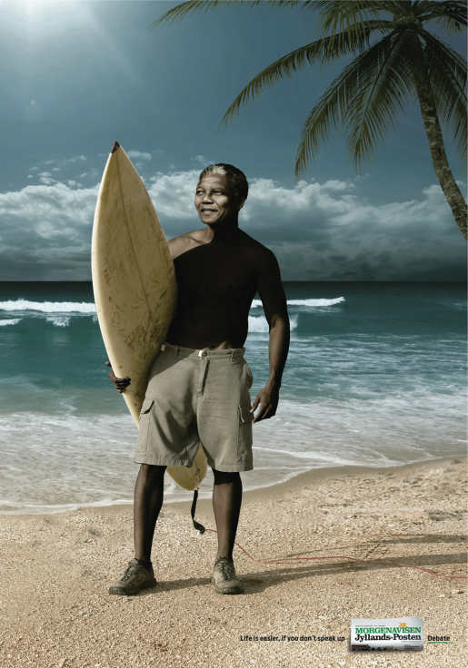 Nelson Mandela as surfer in Jyllands Posten print advertisement