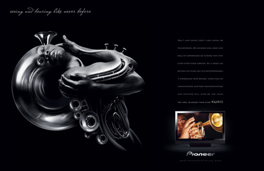 Pioneer Kuro Horn Man magazine spread advertisement