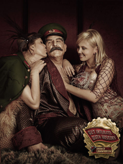 Josef Stalin with two young lovers
