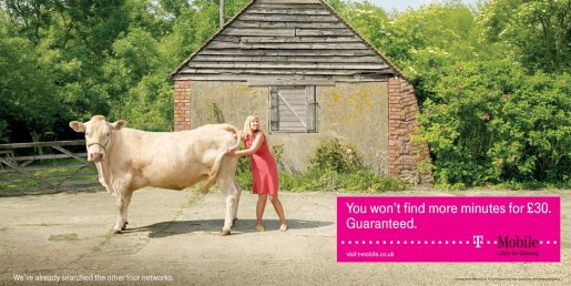 Woman looks inside cow in T-Mobile print ad