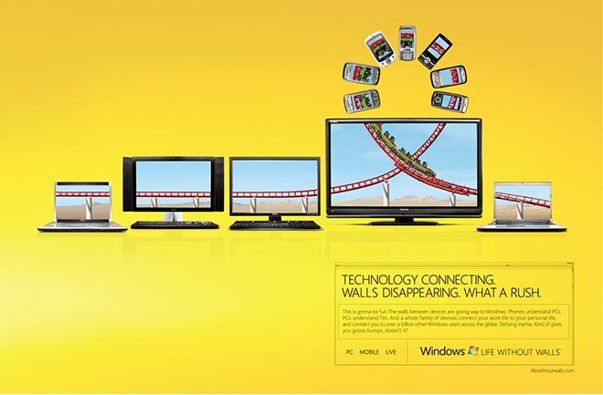 Windows vs Walls Rollercoaster print ad