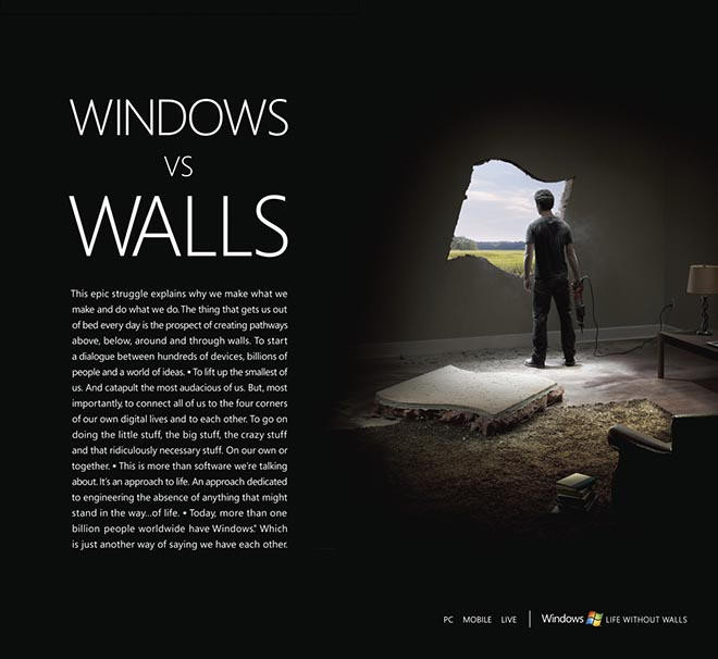 Windows vs Walls print ad