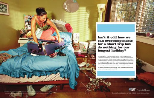 BT Financial Suitcase print advertisement