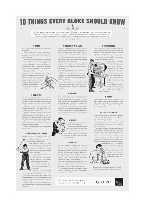 10 Things a Bloke Should Know - Cancer Council print advertisement