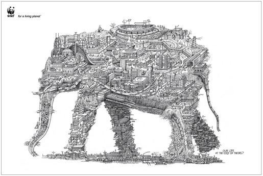 Elephant shaped urban landscape in WWF print advertisement